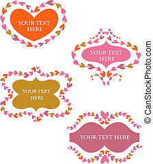 decorative vector retro  frames with hearts