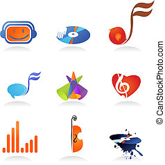Collection of music icons - A set of music related icons and...
