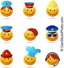 Smiley, Conjunto, diferente, profesiones