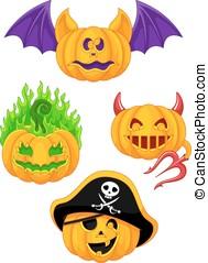 Halloween pumpkins - Set pumpkins for Halloween on a white...