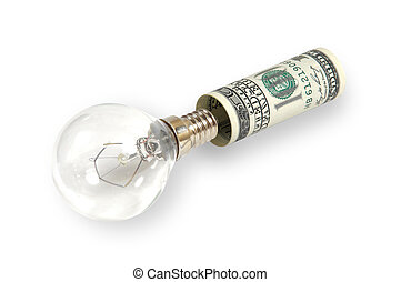 The lamp is inserted into the dollar - Symbolizes investing...
