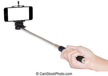 hand holding phone selfie stick isolated with clipping path