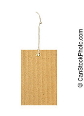 cardboard tag with metal grommet isolated on white...