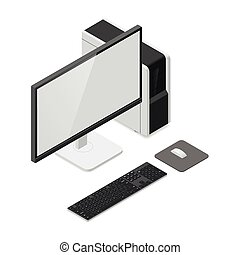 Desktop computer detailed isometric icon