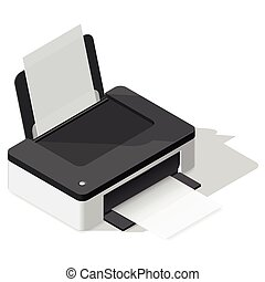 Printer detailed isometric icon