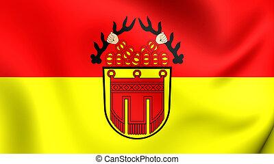 Flag of Tubingen City Baden-Wurttemberg, Germany - 3D Flag...
