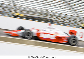 Speed - Race car on Indianapolis Motor Speedway (motion...