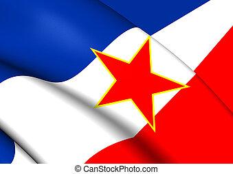 Flag of Yugoslavia - 3D Flag of the Yugoslavia. Close Up.