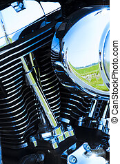 Motorcycle engine details - Close-up shot of a motorcycle...