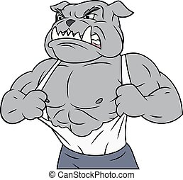 Aggressive bulldog tearing his shirt - Illustration of the...