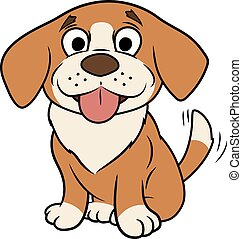 Smiling little puppy - Illustration of the smiling happy...