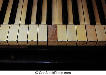 Closeup of black and white piano keys and wood grain with...