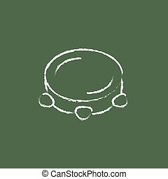 Tambourine icon drawn in chalk. - Tambourine hand drawn in...