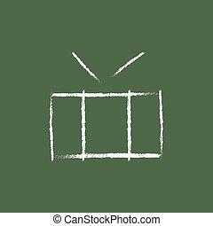 Drum with sticks icon drawn in chalk.