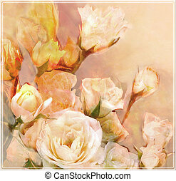 Floral greeting card with bouquet of white  roses in pastel colors
