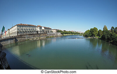 River Po in Turin - Fiume Po meaning River Po seen with...