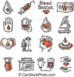 Donor Icon Set - Donor sketch decorative icon set with blood...