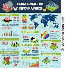 Domestic cattle breeding farm infographic poster - Domestic...