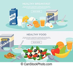 Healthy Food Flat Banner Set - Healthy meal breakfast and...