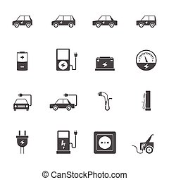 Electric Car Black Icon Set - Electric car transport and...