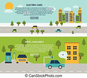 Electric Car Banner Set - Electric car and refill available...