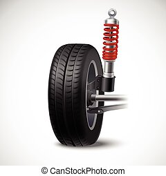 Car Suspension Illustration - Car suspension realistic icon...