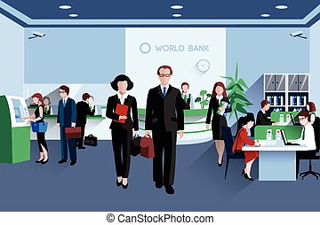 People In Bank - Customers and staff people in bank interior...