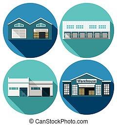 Warehouse Flat - Warehouse building flat long shadow icons...