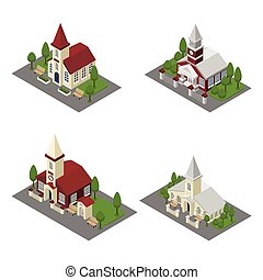 Church Building Isometric - Church 3d building and isometric...