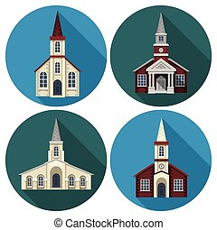 Church Flat Set - Church building flat round long shadow...