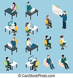 Business people isometric pictograms collection