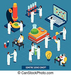 Science lab concept isometric composition banner -...