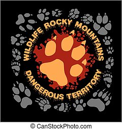 Wolf footprint emblem for t-shirt - vector illustration