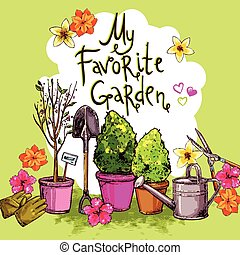 Garden Sketch Set - Garden sketch set with seedling...