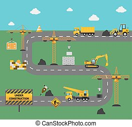 Road Construction Concept - Road construction concept with...