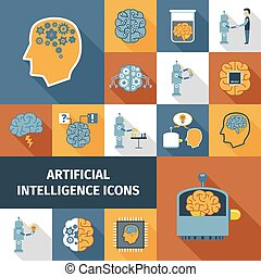 Artificial Intelligence Icons Set - Artificial intelligence...