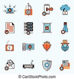 Data Protection Line Icons Set - Data protection line icons...