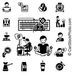 Coffee Black White Icons Set - Coffee and waking up black...