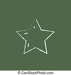 Star rating icon drawn in chalk. - Star rating hand drawn in...