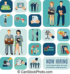 Human resources hiring flat icons set - Looking for job and...