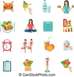 Weight loose diet flat icons set - Weight loss healthy diet...