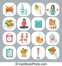 Weight loose diet flat icons set - Healthy life style low...