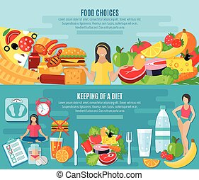 Weight loose diet flat banners set - Healthy food choice for...