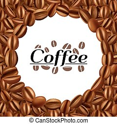 Coffee beans round frame background print - Dried and...