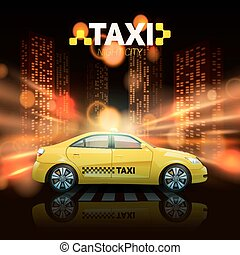 Taxi On City Background - Taxi car with city skyscrapers in...