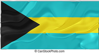 Flag of Bahamas wavy - Flag of Bahamas, national country...