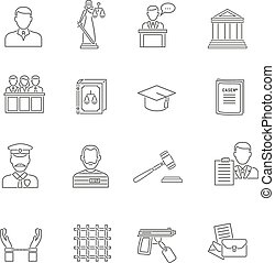 Justice Outline Icon Set - Heist robbers safety and police...