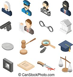 Justice Isometric Color Icon Set - Heist robbers and police...