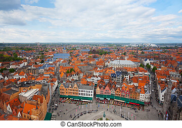 View from Belfry of Bruges and Grote Markt of Bruges...