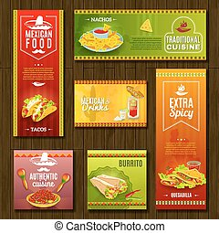 Mexican Food Banner Set - Mexican traditional food cafe...